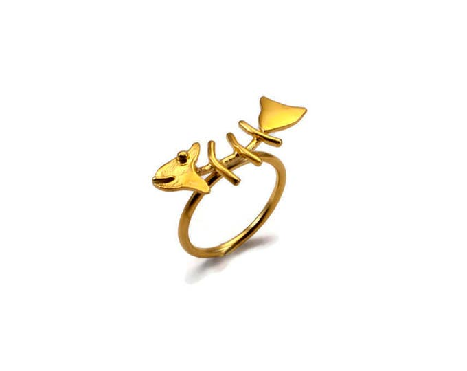 Fishbone Sterling Silver Gold Plated Ring