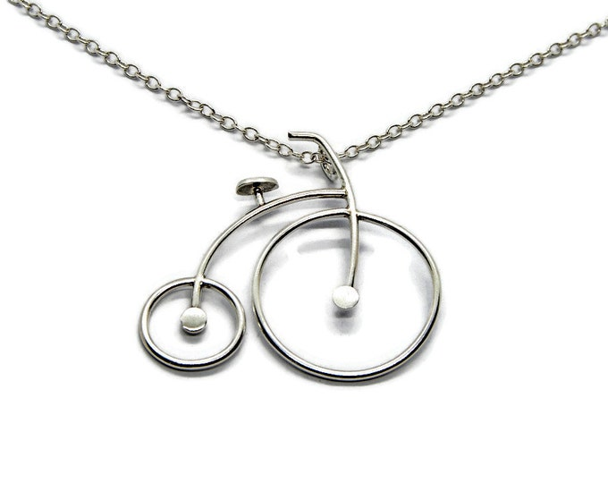 Vintage Bicycle Pendant Sterling Silver