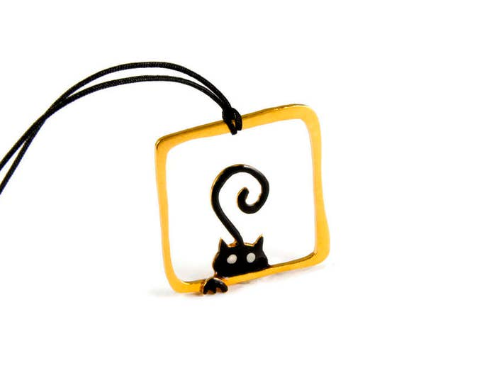 Hide n' Seek Cat Whimsical Pendant