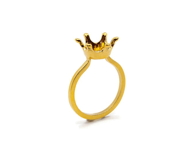 Minimal Princess Ring with Crown on Top Sterling Silver Yellow Gold Plated Crown Love Reigns Cute Fairy Tale Gift for Her Crown Ring