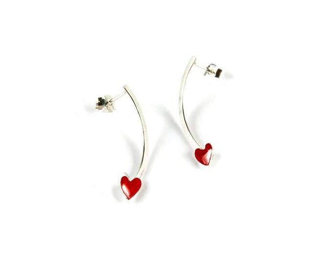 Hearts Sterling Silver Semi Hoops
