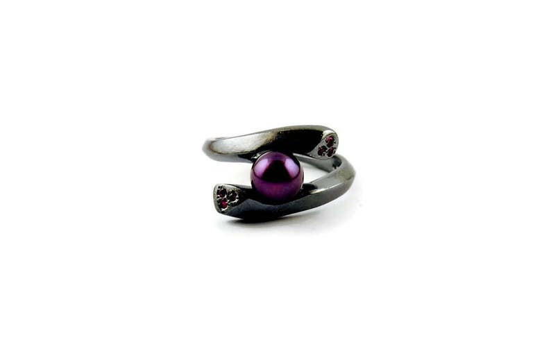 The Hug Statement Engagement Ring Modern Minimal Chic Design Black Sterling Platinum Plated Mystery Pearl Ruby Gems Rare Beauty Special Gift
