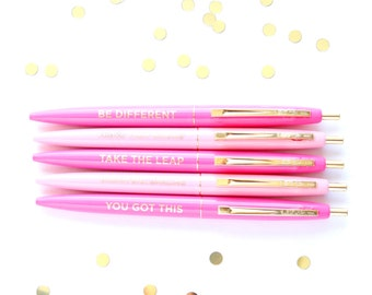 Set of 5 pens, Cute Office Accessory, Motivational pens, Black Ink Pen, Desk Accessory, Teacher Gift, Stocking Stuffer, Cute Pen, TED072-PEN