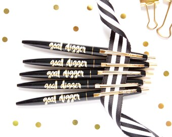 Goal Digger, Set of 5 pens, Black Ink Pen, Pen, Imprinted Pen, Desk Accessory, Teacher Gift, Stocking Stuffer, Cute Pen, TED045-PEN