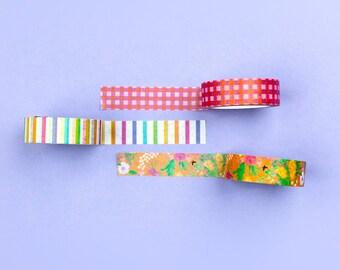 Floral Stripe Gingham Paper Tape Set