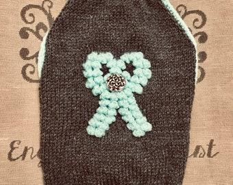 """Medium 14.5""""L 16""""G hand knit dog puppy sweater jumper coat (raglan sleeved)"""