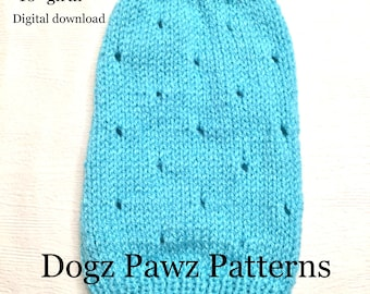 """KNITTING PATTERN  XSmall (10"""" long x 10"""" girth) basic sleeveless dog puppy sweater jumper holes pattern"""