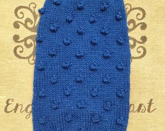 "Medium 14""L 14""G hand knit dog puppy sweater jumper coat (sleeveless)"