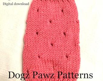 """KNITTING PATTERN  XXSmall (8"""" long x 8"""" girth) basic sleeveless dog puppy sweater jumper holes pattern"""