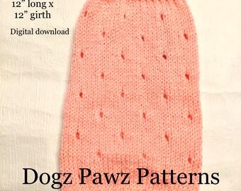 """KNITTING PATTERN  Small (12"""" long x 12"""" girth) basic sleeveless dog puppy sweater jumper holes pattern"""