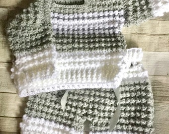 Hand crochet 3-6 months baby sweater and pants set