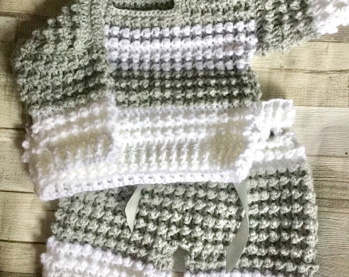 Featured listing image: Hand crochet 3-6 months baby sweater and pants set