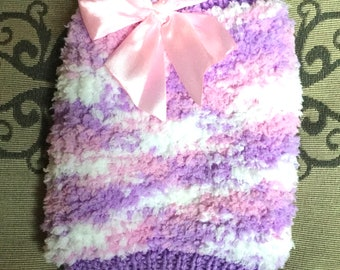 "XSmall 9.5""L 12""G hand knit dog puppy sweater jumper coat (sleeveless)"