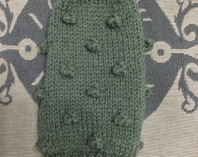 """Featured listing image: XXSmall 8.5""""L 8""""G hand knit dog puppy sweater jumper coat  (sleeveless)"""