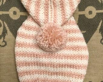 """XXSmall 7.5""""L 10""""G hand knit dog puppy sweater jumper coat (raglan sleeved)"""