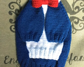 "Small 12""L 14""G hand knit dog puppy sweater jumper coat (raglan sleeved)"