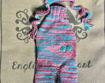 "XXSmall 9""L 11""G hand knit dog puppy sweater jumper coat onesie  (raglan sleeved)"