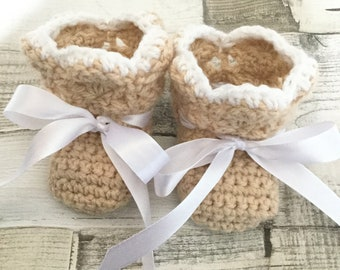 "Crochet Newborn baby booties (sole 3"" long)"