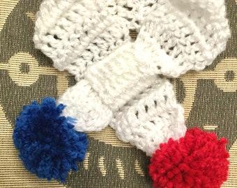 Small/Medium hand crochet dog puppy pompom scarf