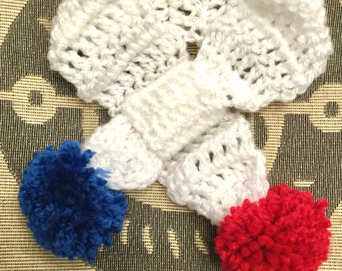 Featured listing image: Small/Medium hand crochet dog puppy pompom scarf