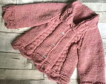 "Hand Knitted 3-6 months Aran baby jacket cardigan (chest 16"")"