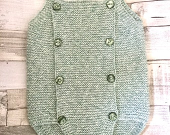 Hand knitted 3-6 months baby romper