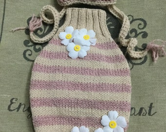 "Small 12""L 14""G hand knit dog puppy sweater jumper coat (raglan sleeved)"