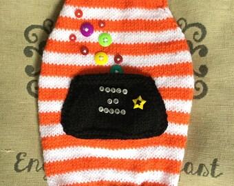 """Medium 14""""L 16""""G hand knit dog puppy sweater jumper coat (raglan sleeved)"""
