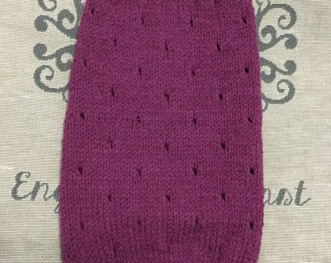"Featured listing image: Medium 14""L 14""G hand knit dog puppy sweater jumper coat (sleeveless)"
