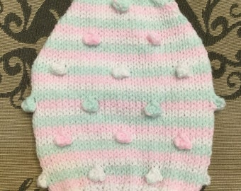 "XSmall 10""L 12""G hand knit dog puppy sweater jumper coat (raglan sleeved)"