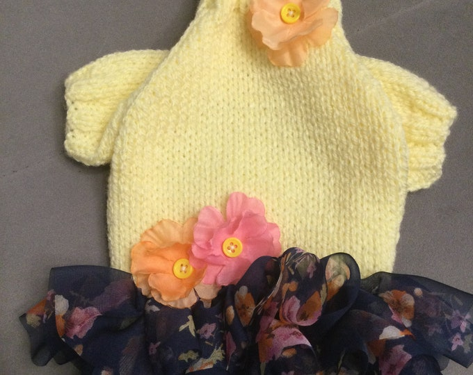 "Featured listing image: XXSmall 8""L 10""G hand knit dog puppy cat kitten sweater jumper coat (raglan sleeved)"