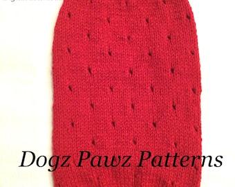 "KNITTING PATTERN  Medium (14"" long x 14"" girth) basic sleeveless dog puppy sweater jumper holes pattern"