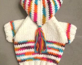 """XXSmall 8""""L 10""""G hand knit dog puppy cat kitten sweater jumper coat (raglan sleeved)"""