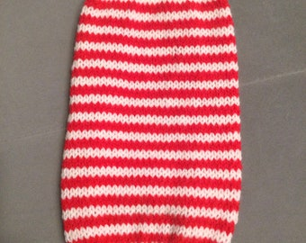 "Small 12""L 12""G hand knit dog puppy sweater jumper coat (sleeveless)"