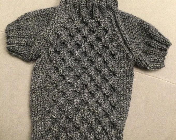 "Featured listing image: Medium 14""L 16""G hand knit dog puppy cat kitten sweater jumper coat (raglan sleeved)"