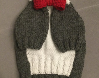 """Small 12""""L 14""""G hand knitted dog puppy sweater jumper coat (raglan sleeved)"""