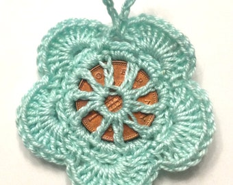 Hand crochet lucky penny flower good luck charm, wedding, christening, party favour