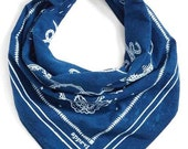 "Indigo Blue Bandana - hand dyed cotton ""Good Luck"""