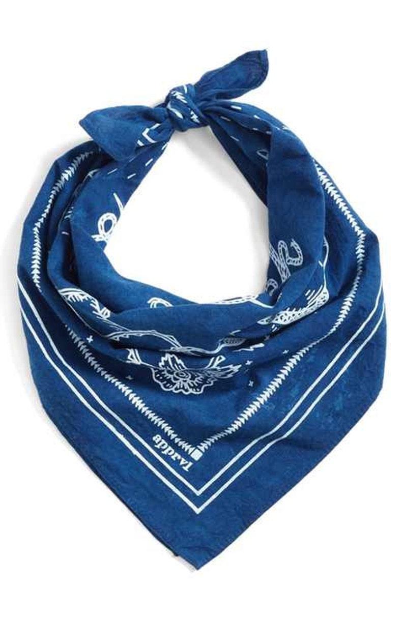 Indigo Blue Bandana  hand dyed image 0