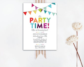 rainbow party invite etsy
