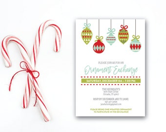 INSTANT DOWNLOAD Christmas party invitation / ornament exchange invite / Holiday party invite / modern invite / 5x7