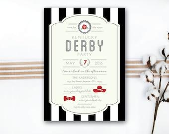 INSTANT DOWNLOAD Kentucky Derby invitation / Derby party invite / classy derby invite / striped derby invite / southern derby invite