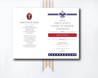 INSTANT DOWNLOAD Eagle Scout Court of Honor custom PROGRAM / downloadable program / custom Eagle Court program