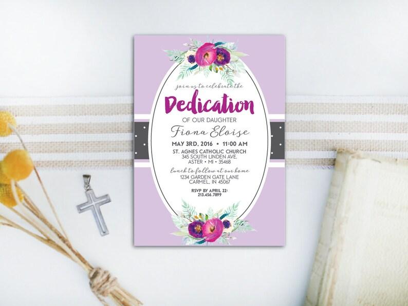 INSTANT DOWNLOAD dedication invitation / baby dedication image 0