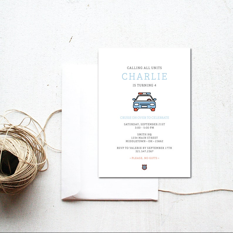 INSTANT DOWNLOAD // police birthday invitation / downloadable image 0