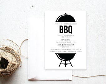 INSTANT DOWNLOAD // neighborhood BBQ invite / bbq invitation / neighborhood party invite / neighbor cookout / cookout invite