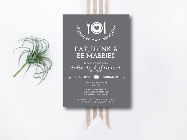 INSTANT DOWNLOAD rehearsal dinner invitation / downloadable image 0