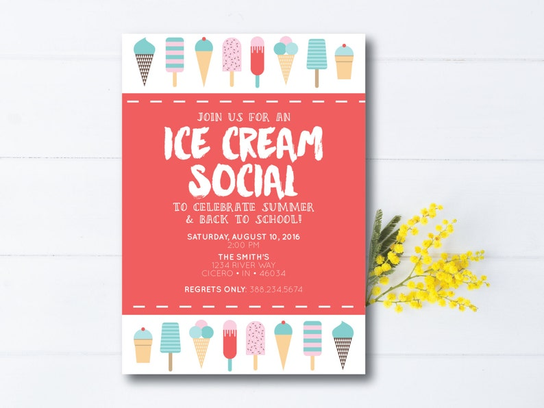 INSTANT DOWNLOAD ice cream social invitation / ice cream party image 0