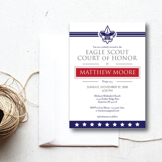 Instant Download Eagle Scout Court Of Honor Custom Invitation Etsy