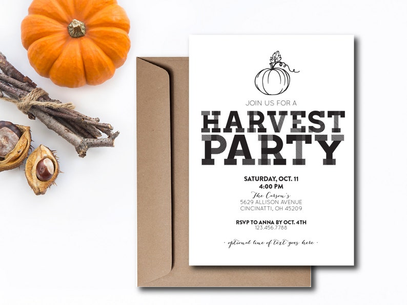 INSTANT DOWNLOAD harvest party invitation / fall party invite image 0